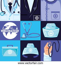 world health day and set icons