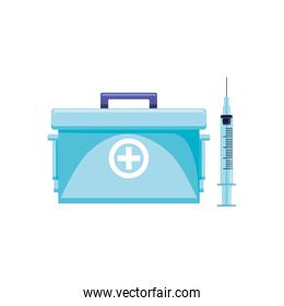 first aid kit with syringe isolated icon