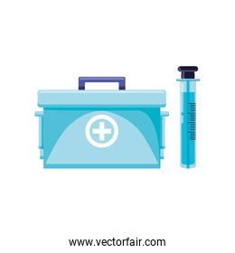 first aid kit with tube test isolated icon