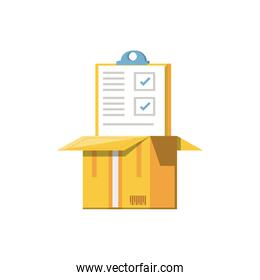 clipboard document with box isolated icon