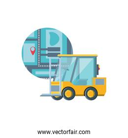 delivery service forklift with map guide