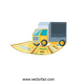 delivery service truck with map guide