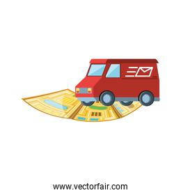 delivery service van with map guide