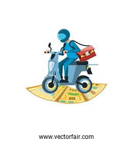 delivery worker in motorcycle with map