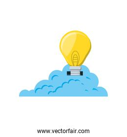 cloud computing with light bulb