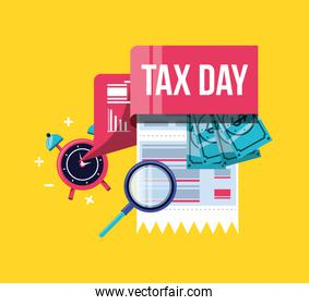 tax day with voucher and set icons