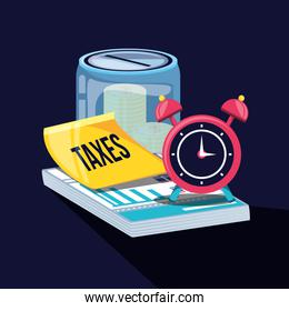 tax day with saving jar and set icons