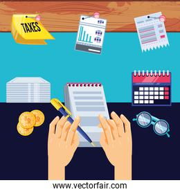 tax day with document paper and set icons