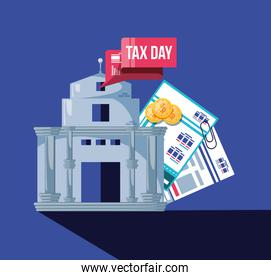 tax day with bank building and set icons