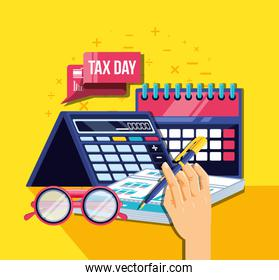 tax day with calendar and set icons