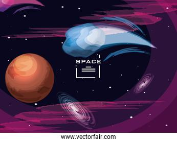 space with mars planet universe scene