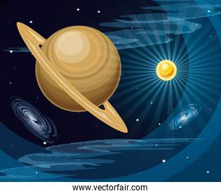 space with saturn planet universe landscape