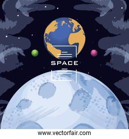 space with earth planet universe scene