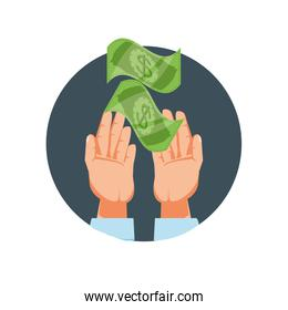 hands with bills dollar isolated icon