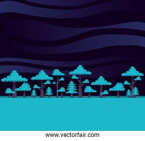 forest with trees scene night scene