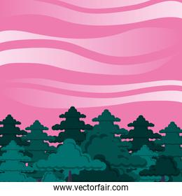 forest with trees scene and sky pink