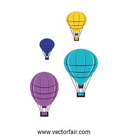 set of balloons air hot flying