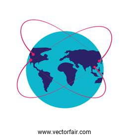 world planet earth with orbit