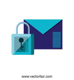 envelope mail with padlock isolated icon