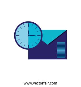 envelope mail with time clock isolated icon