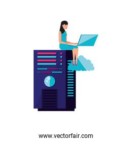 data center with young woman seated