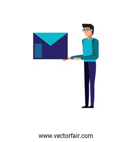 young man with envelope mail