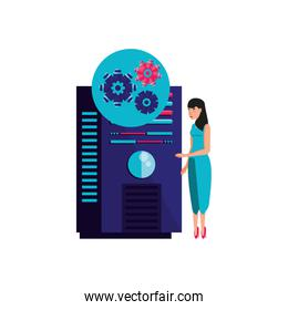 data center with young woman