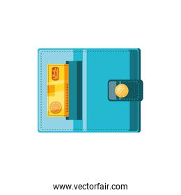 wallet money with credit card isolated icon