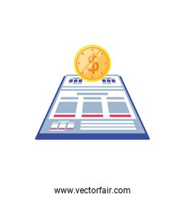 documents paper with coin isolated icon