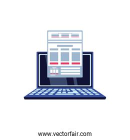 laptop computer with document icon