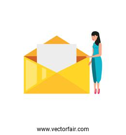 envelope mail with young woman