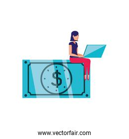 bill dollar money and woman with laptop