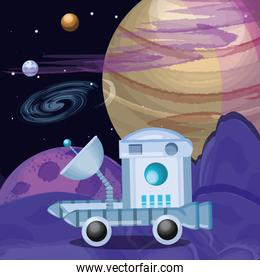planets and space vehicle