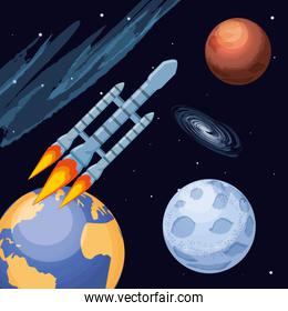 universe and space rocket flying
