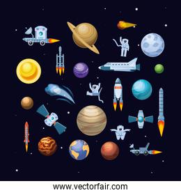 universe and space set icons