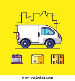 delivery service van and icons