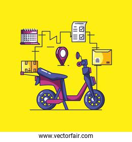 delivery service motorcycle and icons