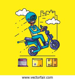 delivery service worker in motorcycle and icons