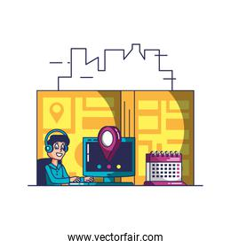 delivery service worker with computer and icons