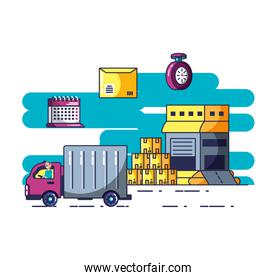 delivery service truck and icons