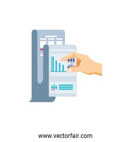 hand and paper document with statistic graphic