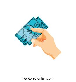 hand with bills dollar money isolated icon