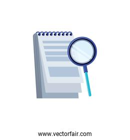 search magnifying glass with notepad