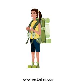 traveler woman with travel bag avatar character