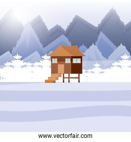log cabin wooden in snowscape