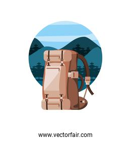 camping bag with landscape isolated icon