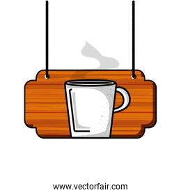 label wooden with coffee cup