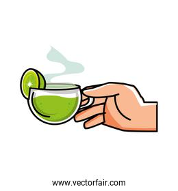hand with delicious and fresh lemonade in cup