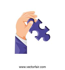 hand with puzzle piece isolated icon
