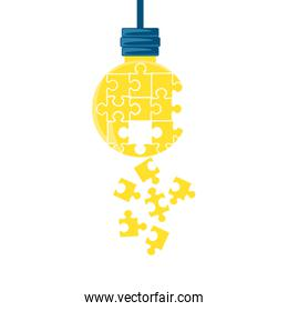 puzzles pieces in shape light bulb hanging